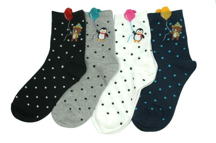 Animal Balloon Character Socks 4 Pair Korean Fashion Style Cute Dot Pattern #GGORANGNAE #Casual #CharacterSocks #women #Kid #Girl #Lady #Funny #Novelty #Pattern