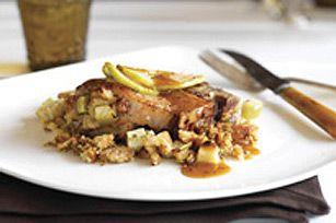 Glazed Stuffed Pork Chops Recipe - Kraft Canada (uses Raspberry Vinaigrette dressing, brown sugar & Dijon)