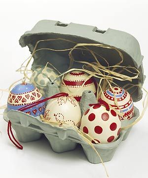 Box of Easter eggs--like the red dotted ones, would be fun to do some in the kitchen colors for easter.
