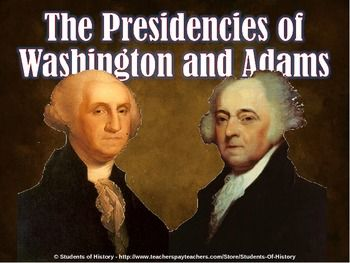 This is a fantastic, higher-level PowerPoint that covers the major events, issues, and policies of America's first two presidents: George Washington and John Adams.  The 15 slides cover topics such as the Federalists and Anti-Federalists, the Whiskey Rebellion, National Bank, Alexander Hamilton, Jay's Treaty, Pinckney's Treaty, the XYZ Affair, Alien & Sedition Acts, and more! This is a great PowerPoint for upper-level American History classes, honor,s or AP US History!