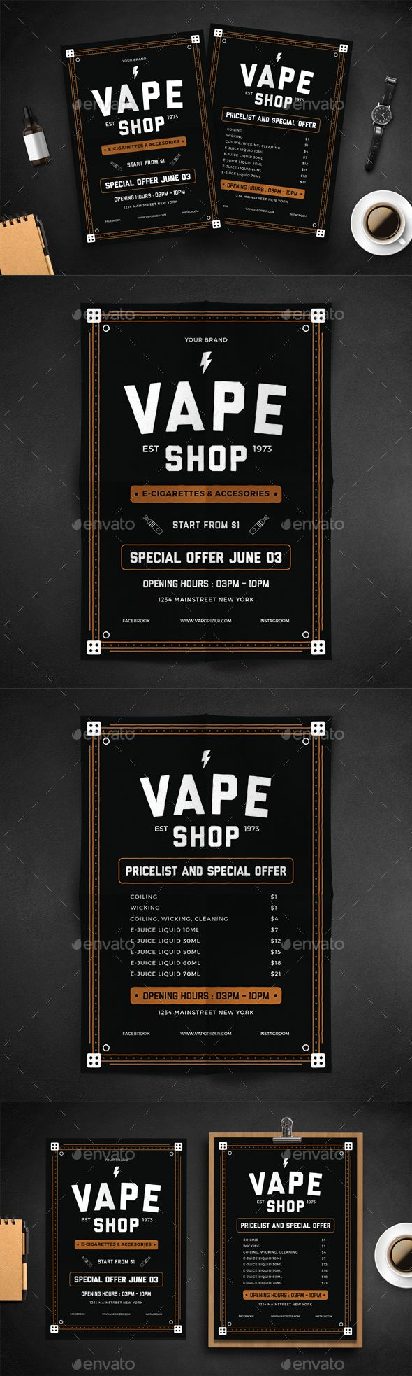 Vape Shop Flyer Menu Template PSD, AI Illustrator