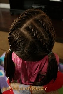 multiple french braids into pig tails
