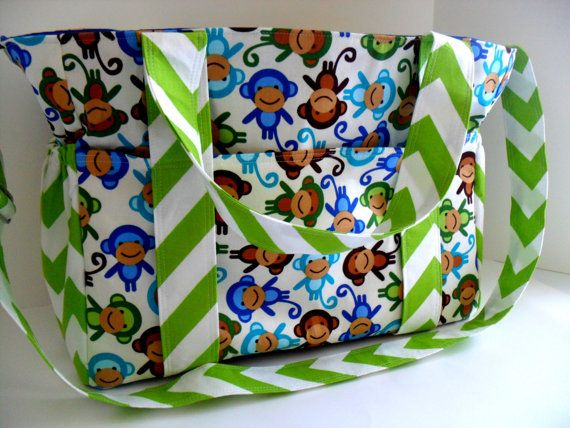 Extra Large Diaper Bag Made of Urban Zoologie Monkeys and Chevron Fabric / 10 Pockets on Etsy, $99.00