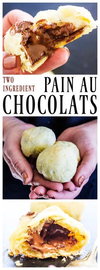 This recipe for 2 INGREDIENT PAIN AU CHOCOLATS is simple, easy and delicious. Soon you will be eating this classic pastry fresh from your oven. #chocolate #pasty #desserts #chocolates #pastries #easyrecipe