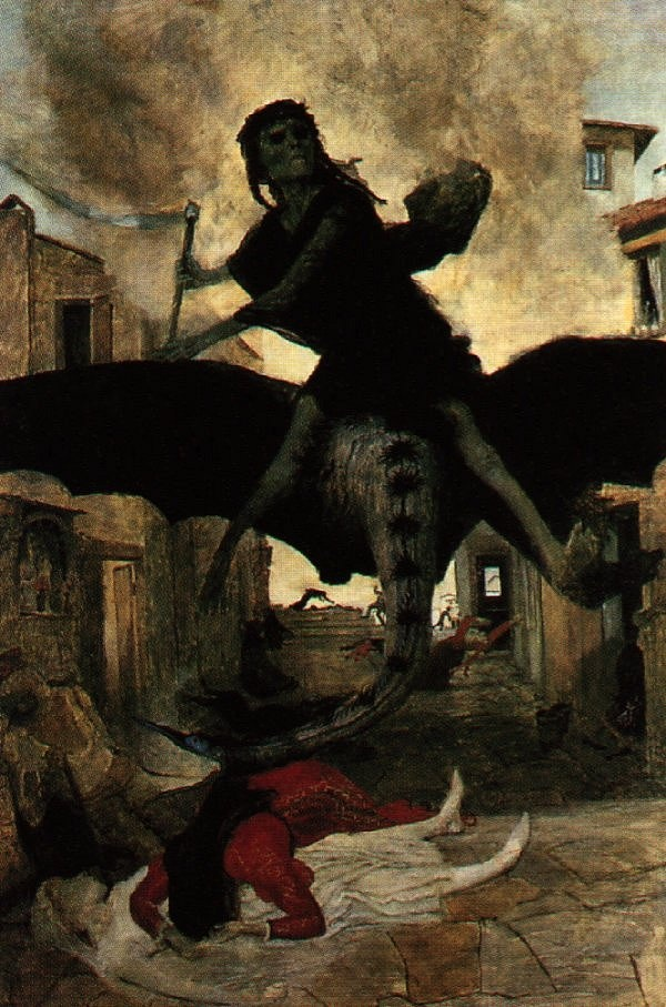 This fantastical depiction of the plague was painted by Arnold Bocklin in 1898. Guillermo Del Toro is a big fan of his work.