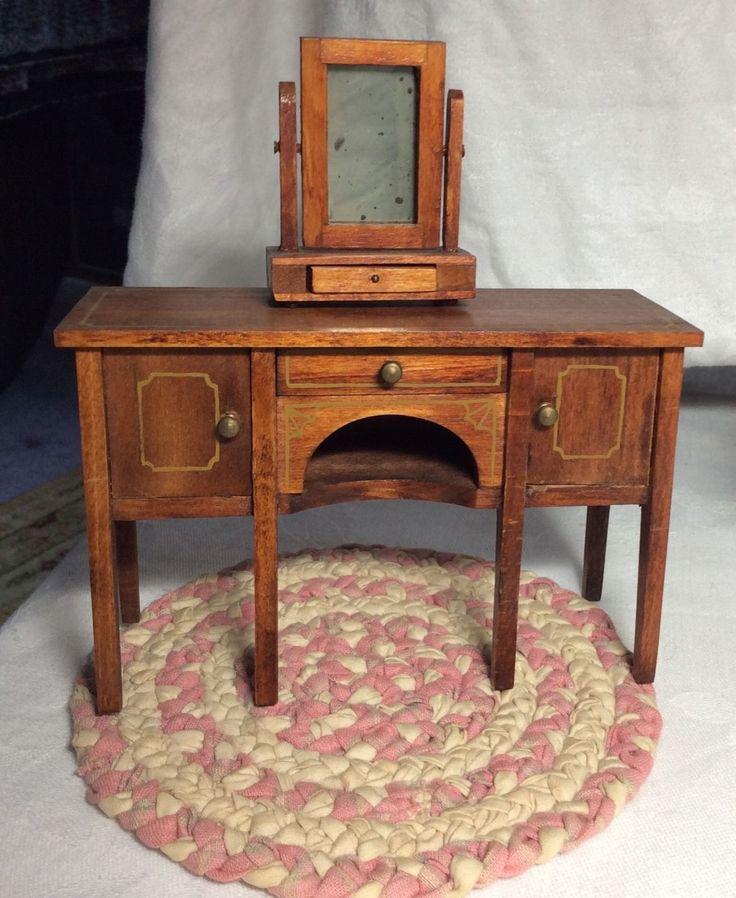 2 TYNIETOY Wooden Dresser With Mirror, Chair, Woven Rug Dollhouse Furniture