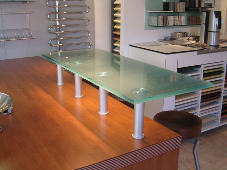 Toughened Glass Kitchen Breakfast Bar With UV Bonded Legs.