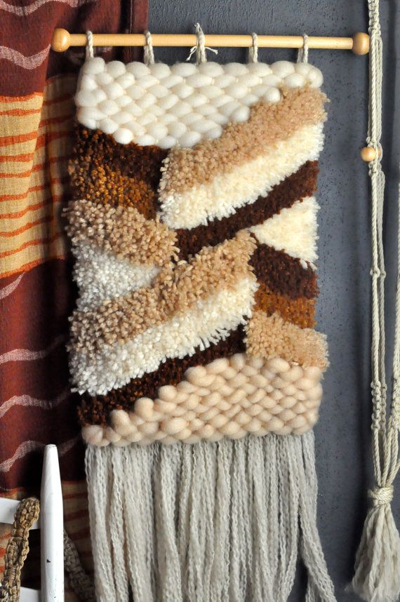 Vintage Rustic Fiber Art Woven Wall Hanging 1970s by drowsySwords, $42.00