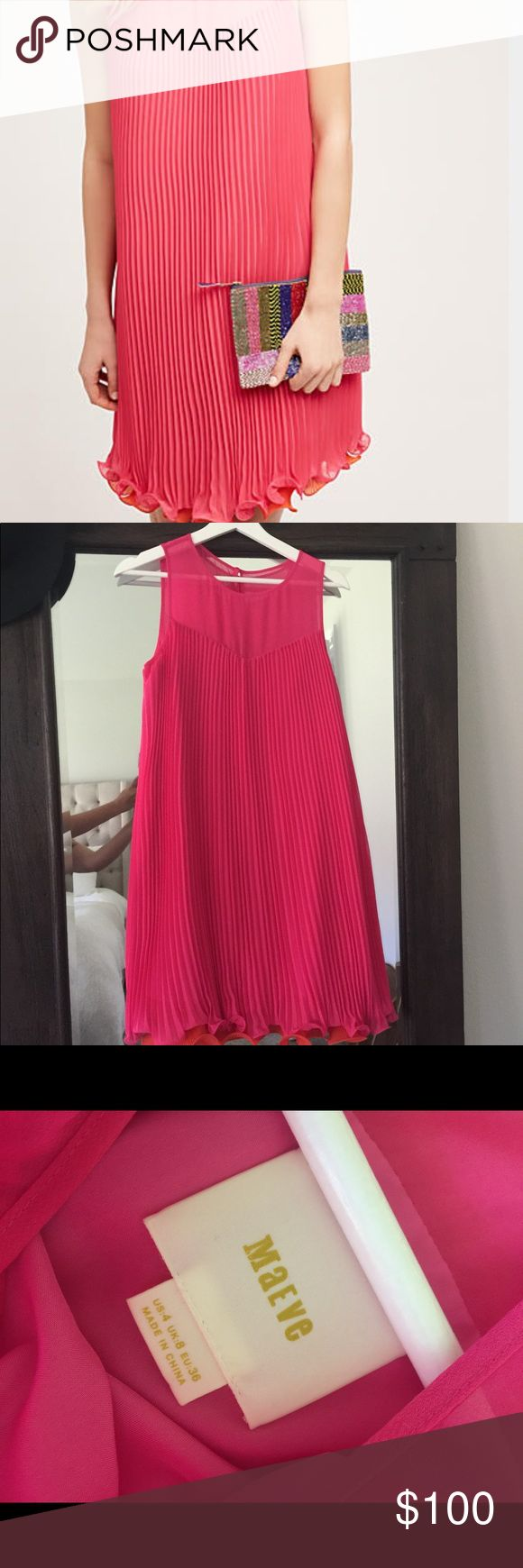 "Like New Anthropologie Layered Pleat Swing Dress Super cute like new Anthropologie layered pleat swing dress by Maeve. Only worn once for a few hours. Size 4. I'm 5""3 and it falls right above the knee. Hot pink top layer and orange under pleat. Back zip. Dry clean only. Anthropologie Dresses"