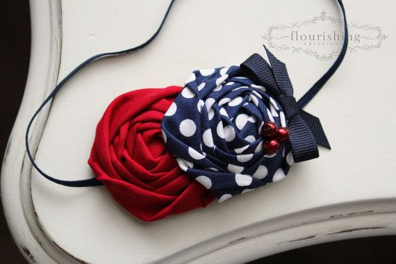 Red and Blue Rosette headbands, 4th of july headbands, nautical headbands, red headbands, newborn headbands, photography prop via Etsy