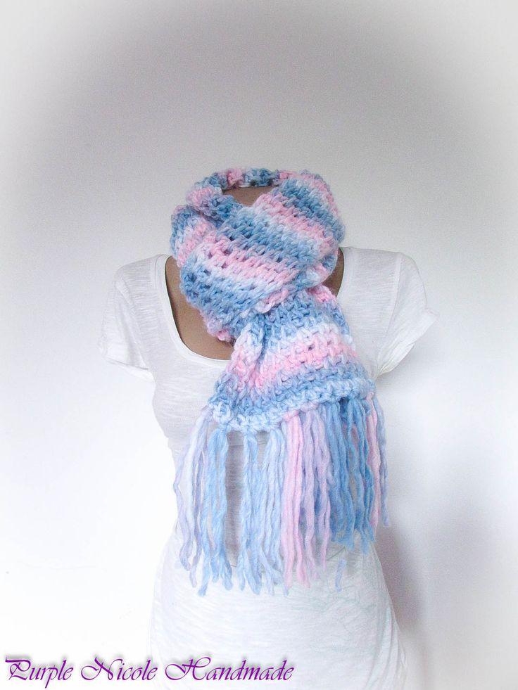 Innocence - Handmade Women Comforter / Neckwarmer / Scarf by Purple Nicole (Nicole Cea Mov) in baby blue, baby pink and ivory yarn.