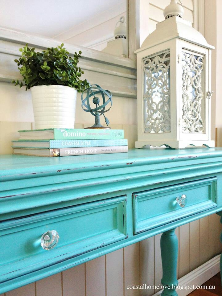 Coastal Home Love: Aqualicious Hall Table And Mirror Makeover!
