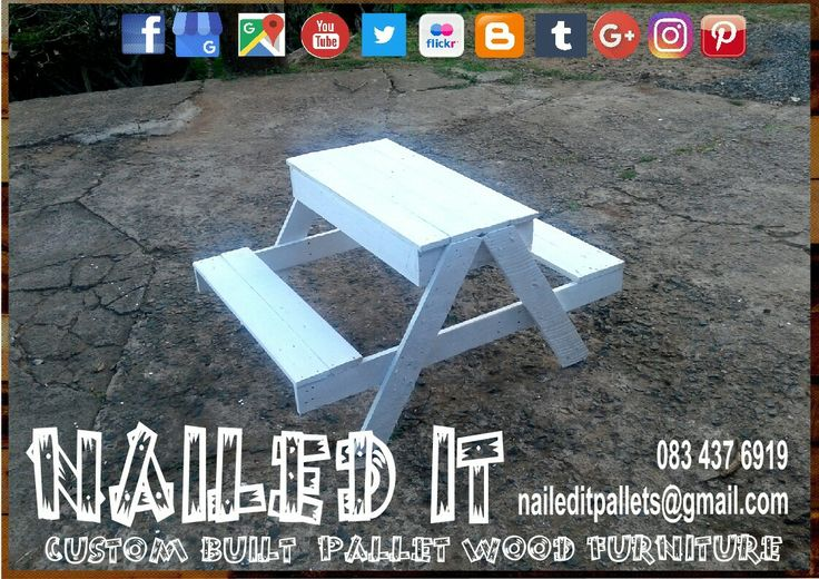 Custom built kiddies picnic table. Simply remove the lid to convert to a sandbox. Painted, treated or raw wood. For more info contact 0834376919 or naileditpallets@gmail.com. #kiddiesfurniture #kiddiespalletfurniture #palletwoodsandbox #kiddiespicnictable #naileditpalletfurniture #custompalletfurniture #custombuiltpalletfurniture #palletfurnituredurban #custombuiltpalletfurniture