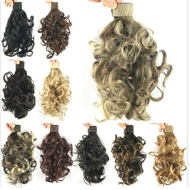 Darmowa wysyłka Kobiety Krótki Śruba Kręcone Rzep Ponytails Hairpiece przedłużanie Włosów Dziewczyna czarny/brązowy/blond 10 Cal