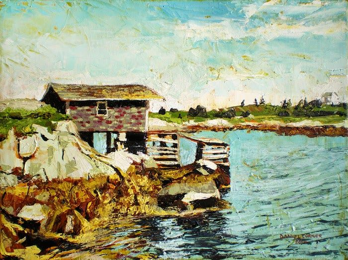 Old Fishing Shack, Prospect, NS (2014) 12x16 Oil on Canvas by Daniel Cormier It's a beautiful day where you're standing on the coast of Nova Scotia. The ocean breeze is washing over you. You feel a connection to this place. A single fishing shack is perched on a rocky outcrop.  This is a precarious existence; It's old wooden beams cry arrogance and yet they seem permanent; transfixed to the landscape in which they are necessary. FOR SALE on my blog: http://www.danielcormier.blogspot.com