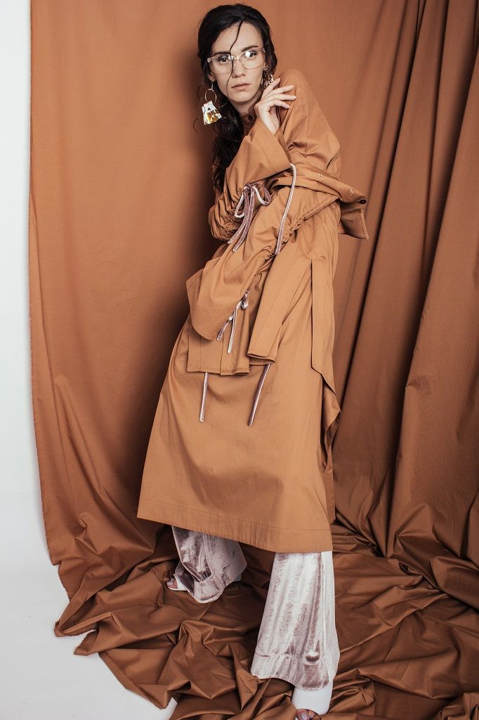 Constantine/Renakossy | rhéō 17 | LONG SHIRT-DRESS + OCHRE TRUMPET SLEEVE SHIRT+DRAWSTRINGS+ VELVET FLARES