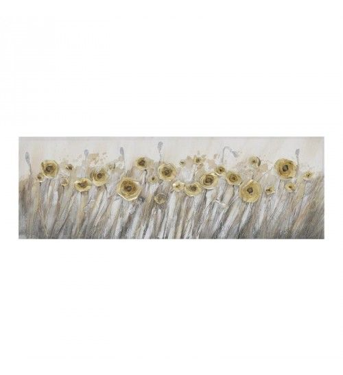 OIL WALL PAINTING CANVAS 'FLOWERS' IN GOLDEN COLOR 150Χ3Χ50