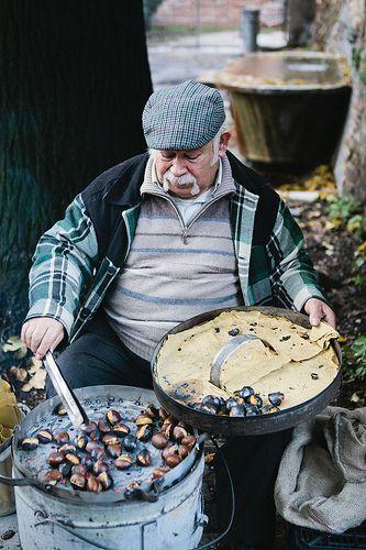 roasting chesnuts, Rome, Italy