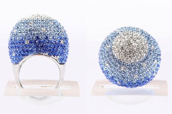 Blue Crystal Ball Ring
