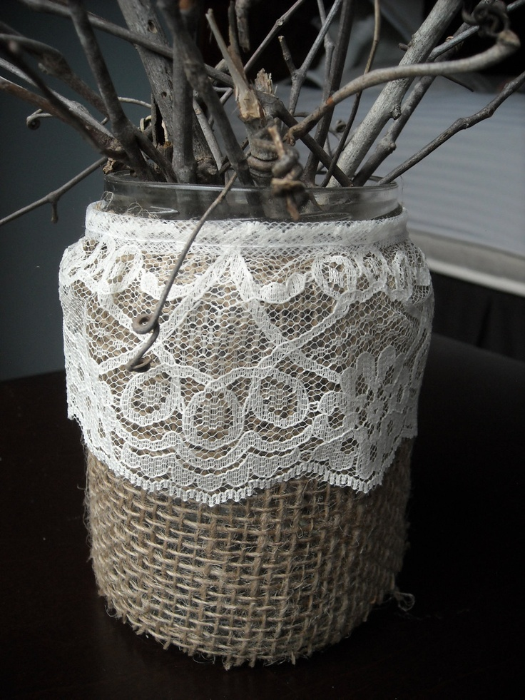 Rustic Burlap and Lace Mason Jar Centerpiece - Vase or Candle Holder. $8.00, via Etsy.