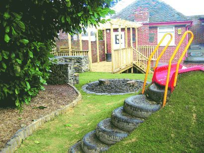 Slide on sloped landscape w/ built in tire steps.