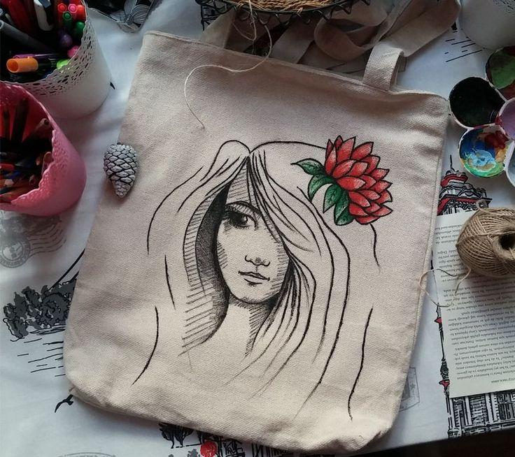 Çiçek Kadın Bez Çanta