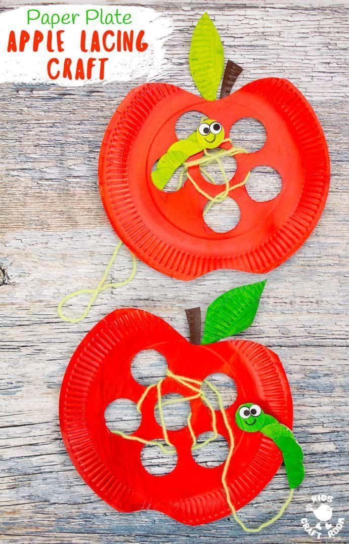 Dieses Paper Plate Apple Lacing Craft ist entzückend mit dem niedlichsten Wurm für …