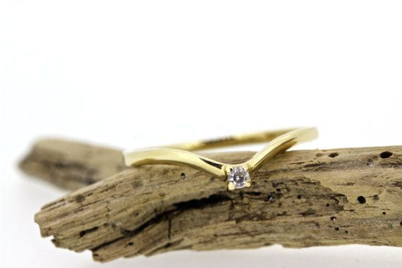Tiny Diamond Ring | Stacking Ring | 14k Yellow Gold Ring | Thin Gold Ring | V Shaped Ring | Chevron Ring | Curved Wedding Band | Size 5 1/4 by FergusonsFineJewelry