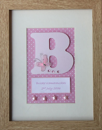 207 best things to make images on pinterest frame handmade frames personalized name frame pink butterflies perfect gift for new baby christening or birthday includes name and date of birth negle