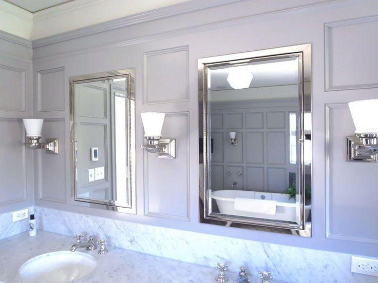 Bathroom design grey white classic newport brass for Classic master bathroom designs