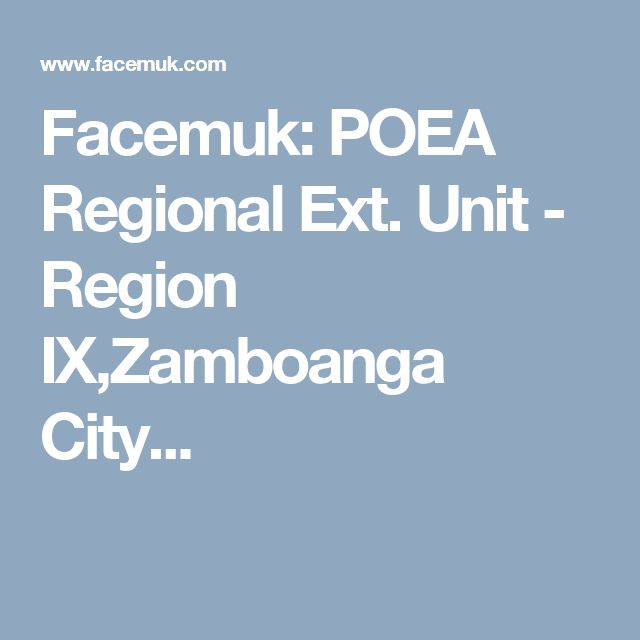Facemuk: POEA Regional Ext. Unit - Region IX,Zamboanga City...