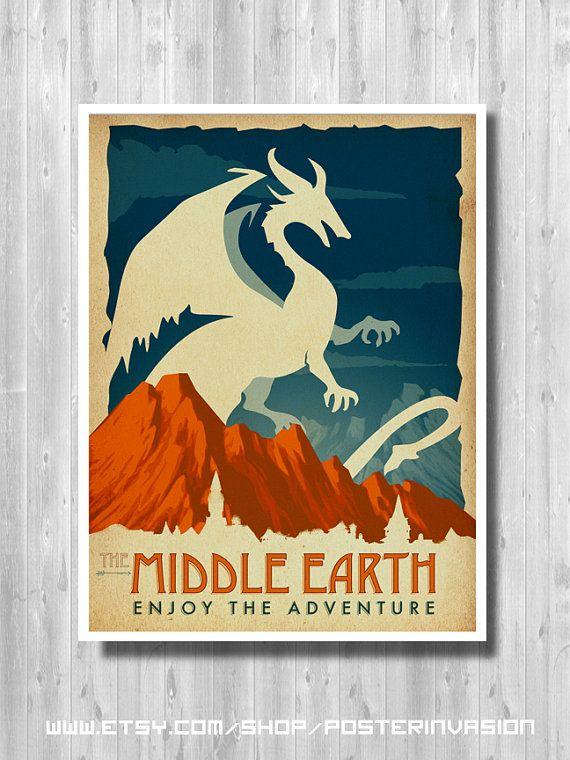Middle Earth travel poster - The Hobbit poster - LOTR art print - Retro movie art - minimalist poster