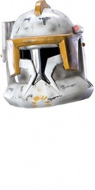 Clone Trooper Cody Star Wars Helmet - Clone Cody's helmet is 2 pieces and made from a sturdy but thin plastic. It attaches with pieces of Velcro on both sides . Vision is good, but still limited. One size fits most. Perfect for Halloween, Star Wars Theme parties, or as a collector's item.This is an officially licensed product.Please note: Helmet looks more worn in the picture than actual product looks. #trooper #starwars #yyc #costume