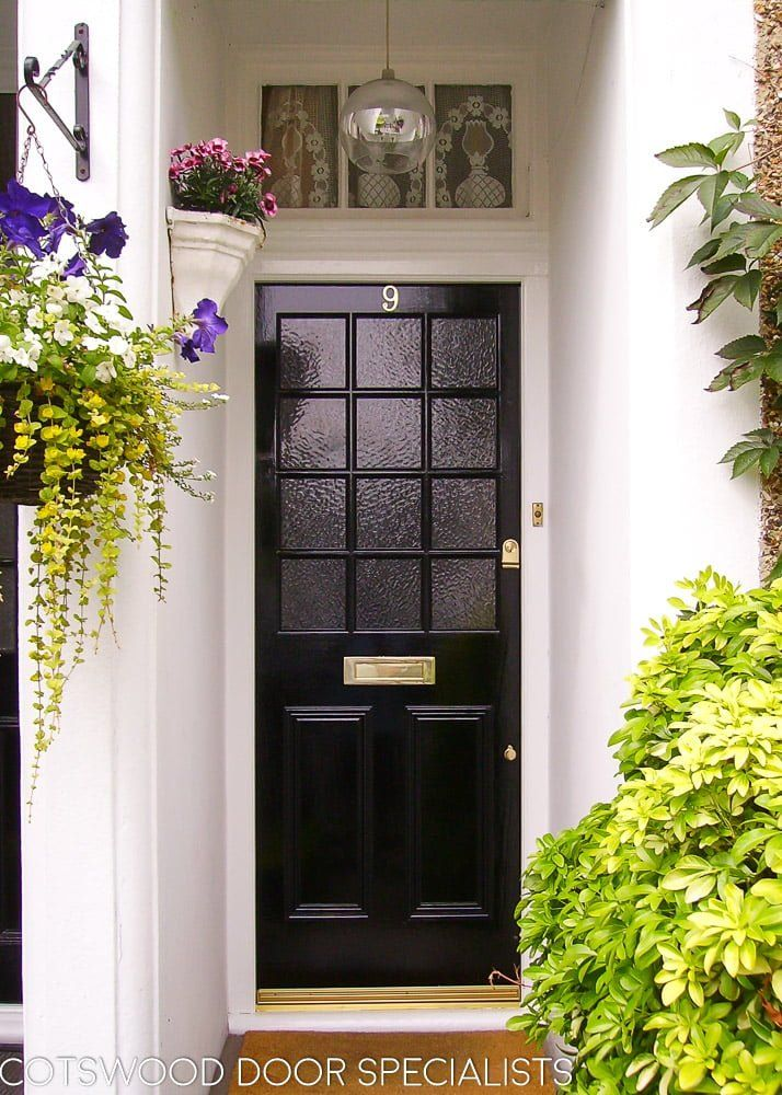 Https Www Cotswood Doors Co Uk Wp Content Uploads 2019 06 Georgian 12 Light Front Door Black Gloss Pa In 2020 External Glass Doors Painted Front Doors External Doors