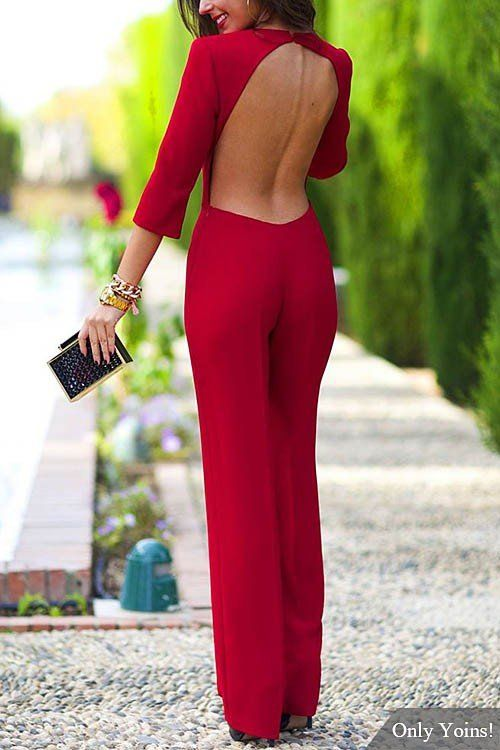 3/4 Length Sleeves Backless Jumpsuit -YOINS