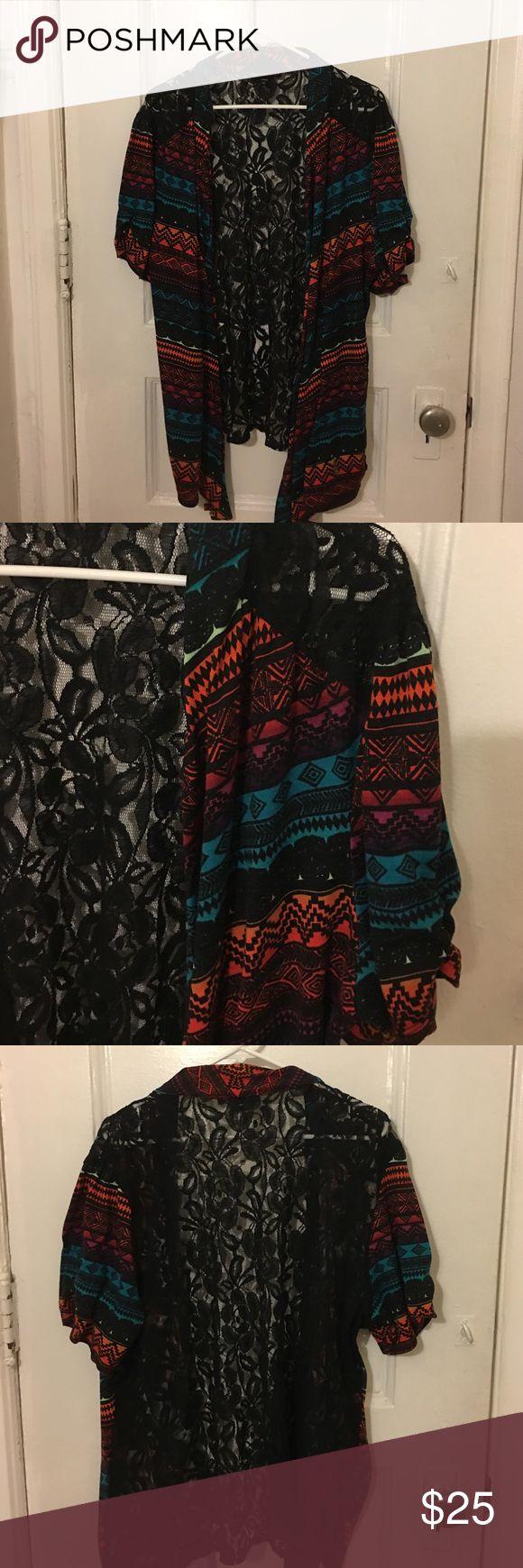Aztec open front cardigan 🍂 Cute open front cardigan . Black lace back . Like new heart soul plus Sweaters Cardigans