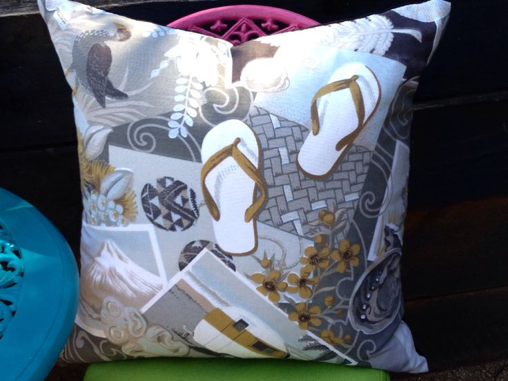 Kiwiana retro caravan & jandal cushions by lucy. $35 per cover