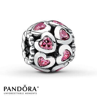 Pandora Charm Pink CZ Hearts Sterling Silver