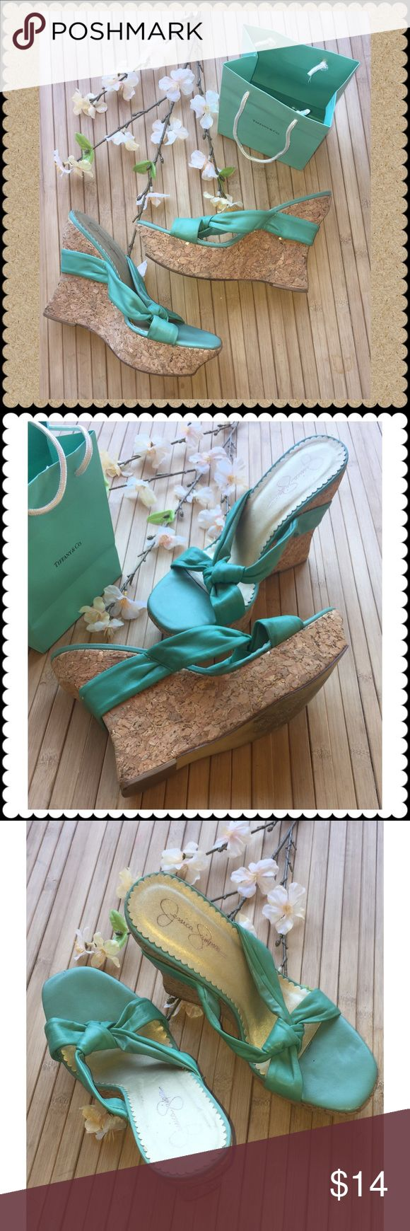 Jessica Simpson cork wedge platforms 8 Jessica Simpson  Wedge platform shoes sandals, cork is a mix of brown with bits of gold, very pretty! Sz 8  Teal top cork wedge Gently used condition  No trades. Jessica Simpson Shoes Platforms