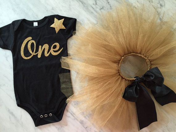 first birthday outfit personalized tutu gold by myeverydaydesign