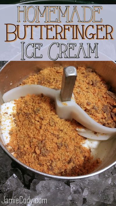Homemade Butterfinger Ice Cream! Very easy recipe that requires no cooking, and no eggs. JamieCody.com @jamiecody