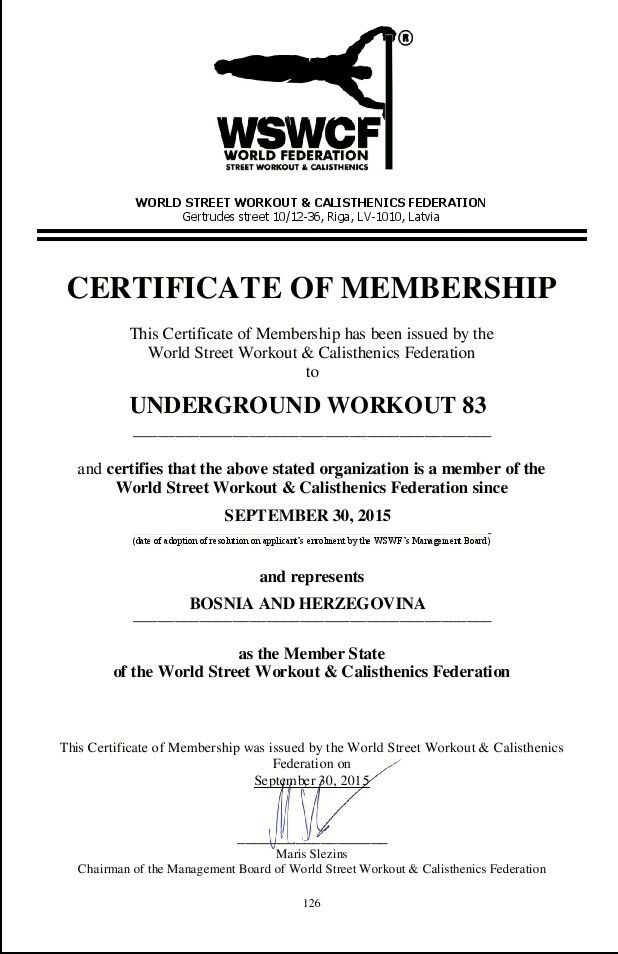 Certificate Of Membership In World Street Workout  Calisthenics