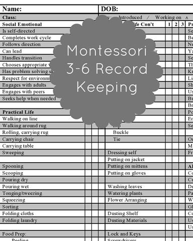 Free Record Keeping - Montessori . Registro de actividades y materiales Montessori