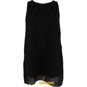 Check out this classically elegant black tunic dress, fully lined and made from youryu chiffon it is simply stunning. Imported from the UK, it has a lovely pleated detail on the neckline that is set alight by the attached gold coloured decorative bar. Sitting at the middle of the thigh it can be worn as a dress or with some suitable pants as a top. An essential piece for any woman's wardrobe and suitable for a multitude of different occasions.