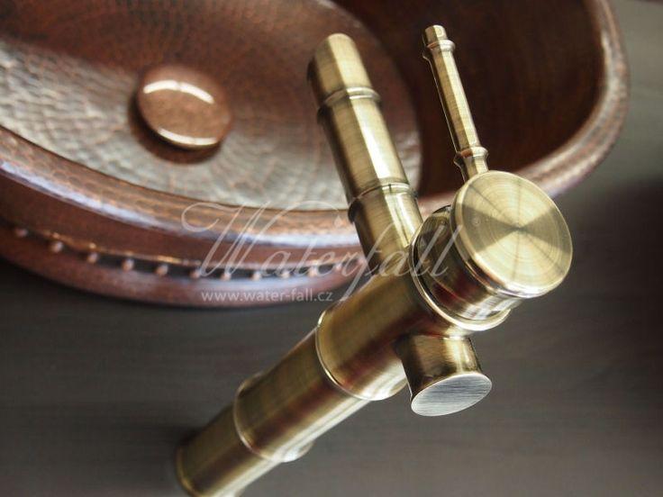 Měděné umyvadlo na desku s baterií bronzovou baterií Bamboo