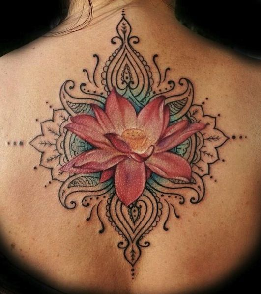 Buddha Lotus Flower Back Tattoo | In the Buddhist culture, the different colors of the lotus flower also ...: