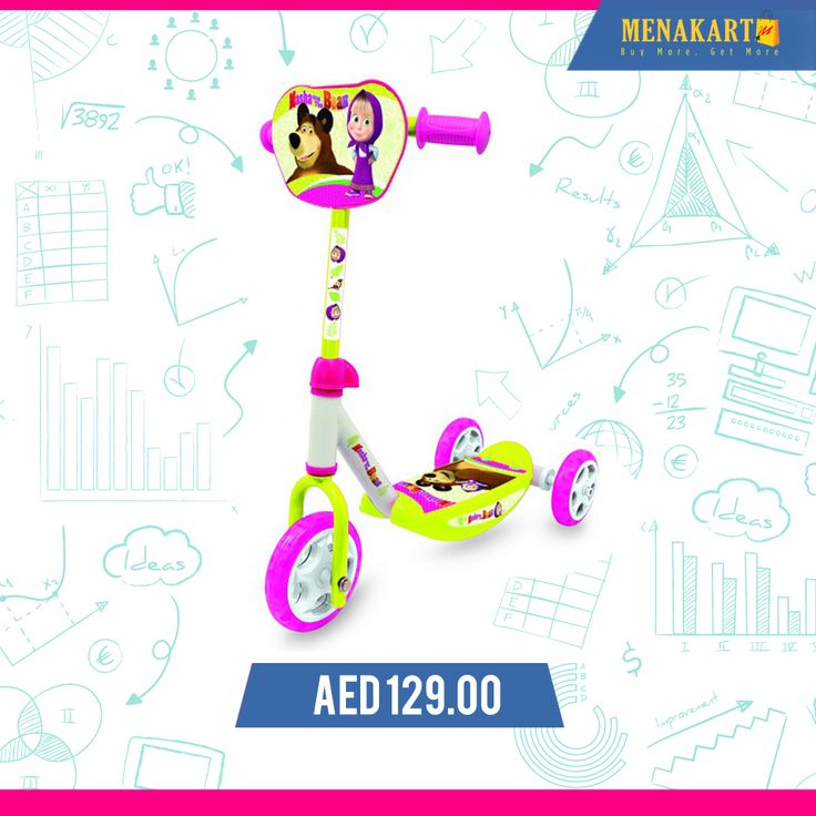 Smoby - Masha 3 Wheels Scooter #kids #toys #games #online #wheelscooter #scooter #shopping #menakart