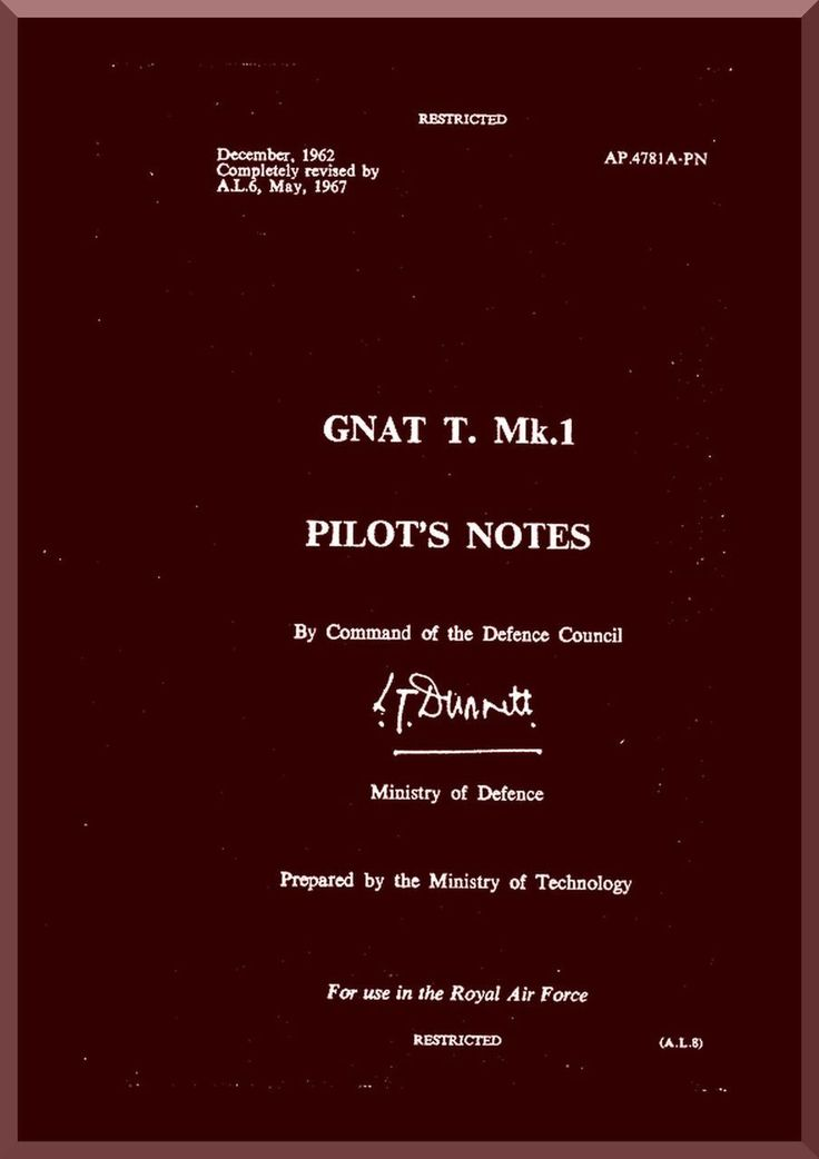 Folland Gnat T Mk.1 Aircraft Pilot's Notes Manual - Aircraft Reports - Aircraft Helicopter Engines Propellers Manuals Blueprints Publications