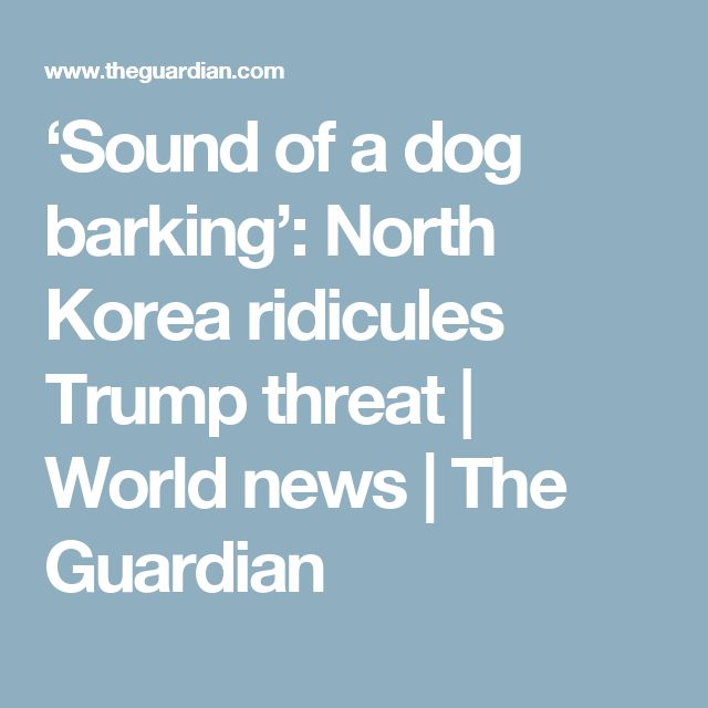 'Sound of a dog barking': North Korea ridicules Trump threat | World news | The Guardian