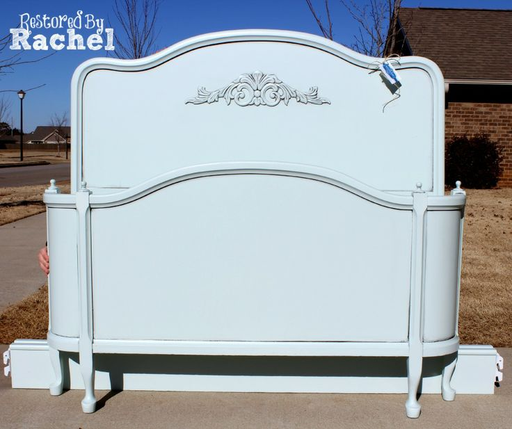 Antique Full Size Bed With High Headboard And Curved